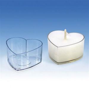 Форма за чаени свещи Сърце - 5 бр.
