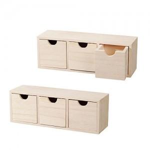 Дървена полица с чекмеджета