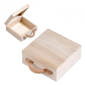 Дървено куфарче с дръжка, квадратно