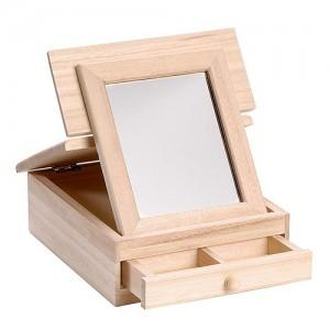 Дървена кутия за грим с огледало