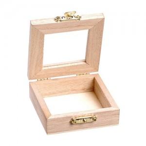 Дървена кутийка с прозорче - мини