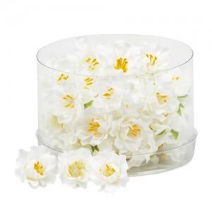 Бели цветчета за декорация, 36 бр.